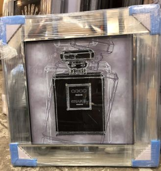"Mirror framed Sparkle Glitter Art ""Chanel  Noir Perfume"" In stock for a fast delivery"