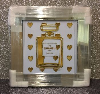 "Mirror framed Sparkle Glitter Art ""Chanel No 5 Gold Hearts"""