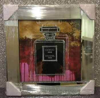 "Mirror framed Sparkle Glitter Art ""Chanel Coco Noir  Perfume """