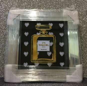 "Mirror framed Sparkle Glitter Art ""Chanel No 5 Silver Hearts Bottle"