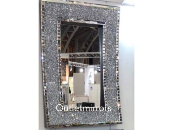 * New Diamond Crush Sparkle In curve Wall Mirror 120cm x 80cm  item in stock