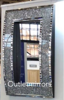 * New Diamond Crush Sparkle Out curve Wall Mirror 120cm x 80cm  item in stock