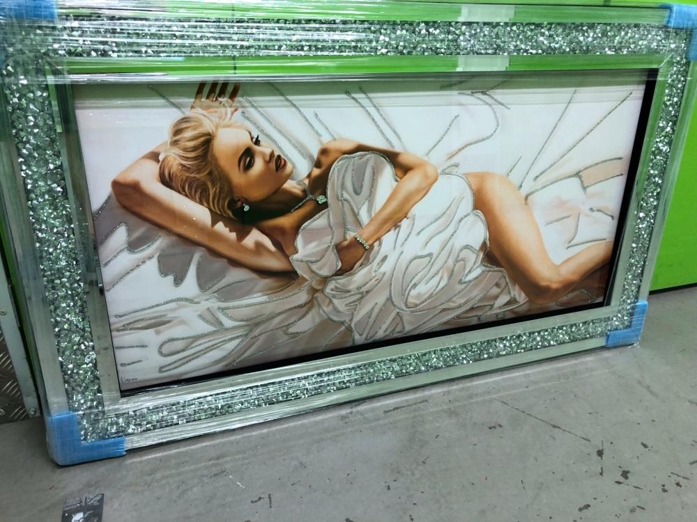 Mirror framed Glitter Lady Wall Art 114cm x 66cm Diamond crush frame