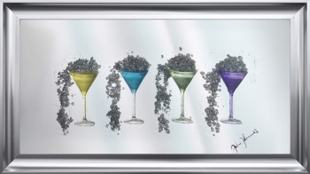 Jake Johnson 3D Colourful Martini's wall art on a Silver mirror backing Various frame choices