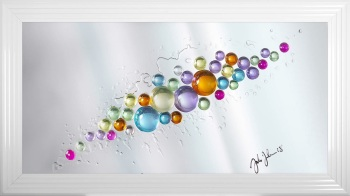 Jake Johnson Spheres in colour wall art on a Silver mirror backing Various frame choices