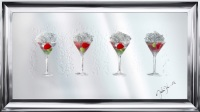 Jake Johnson 3D Strawberry Martini's wall art on a Silver mirror backing Various frame choices