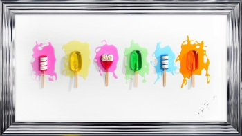 Jake Johnson 3D colourful Ice Pops wall art on a white gloss background chrome stepped frame