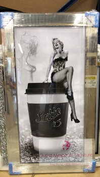 "Mirror framed ""Latte Girl"" Wall Art"