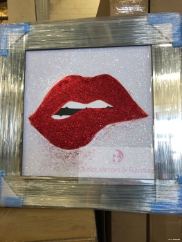 "Mirror framed ""Sparkle Lips"" Wall Art in stock for a quick delivery"
