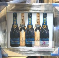 "Mirror framed Sparkle Glitter Art ""Moet Champagne Bottles"""