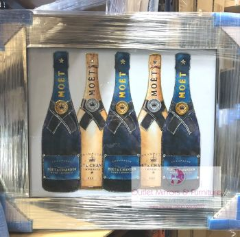 "Mirror framed Sparkle Glitter Art ""Moet Champagne Bottles"" in stock"