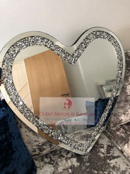 * New Diamond Crush Sparkle Heart Wall Mirror 70cm x 70cm item in stock