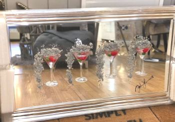 Jake Johnson 3D Strawberry Martini's wall art on a Silver mirror backing Chrome stepped frame