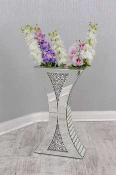 * New Diamond Crush Sparkle Crystal Mirrored shaped Vase