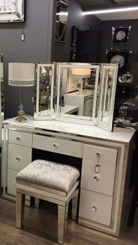 Package Deal  White Mirrored 7 Draw Drsssing Table Stool and Tri Fold Mirror