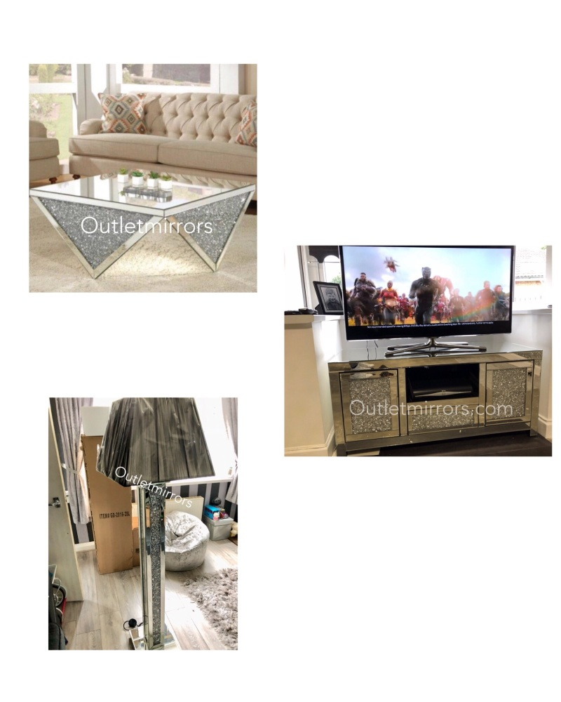 * Package deal Diamond Crush Floor Lamp, Prism Coffee Table and TV Entertai