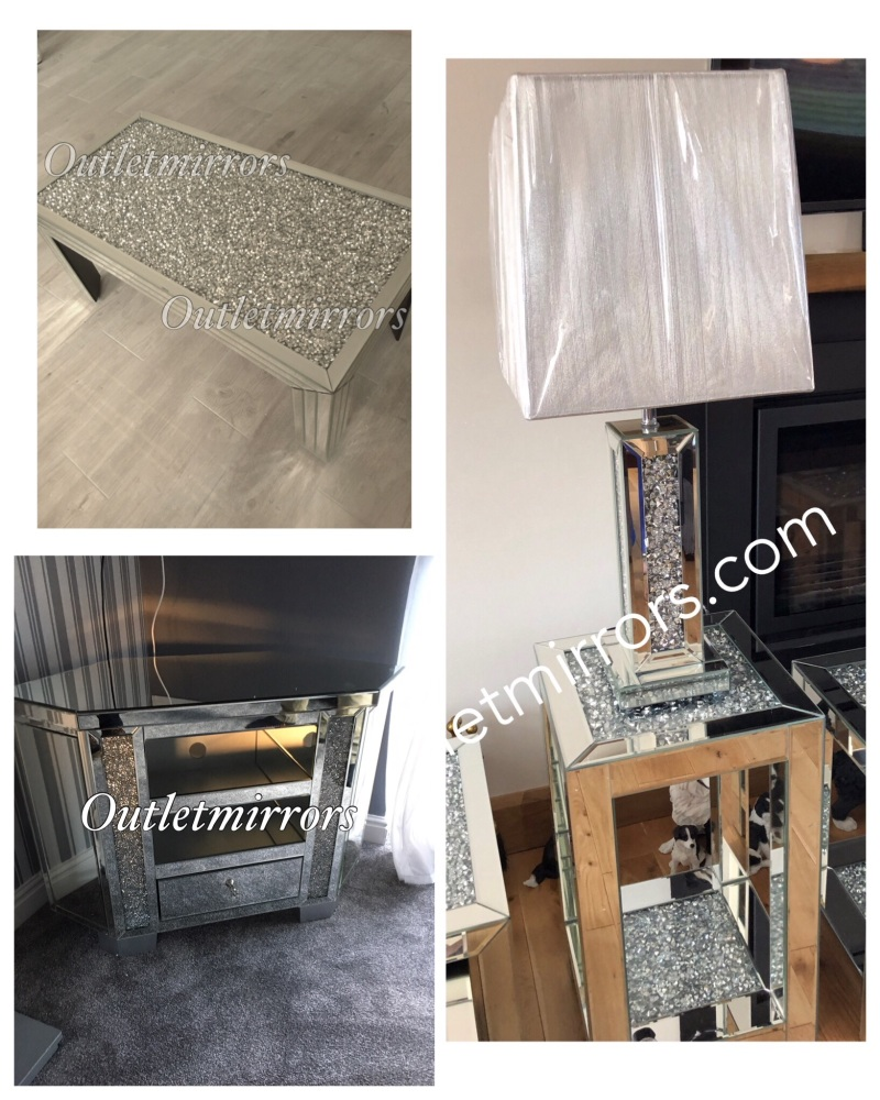 * Package deal Diamond Crush Coffee, 76cm Damond Crush Lamp Table, Diamond
