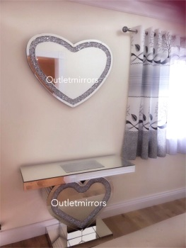 * Package Deal Diamond Crush Crystal Sparkle Heart Console Table and matching Mirror