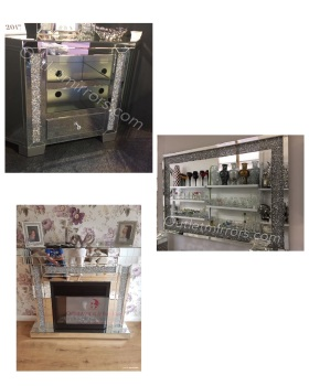 * Package Deal Diamond Crush Crystal Fire Surround with Fire, Corner tv unit and Wall Mirror