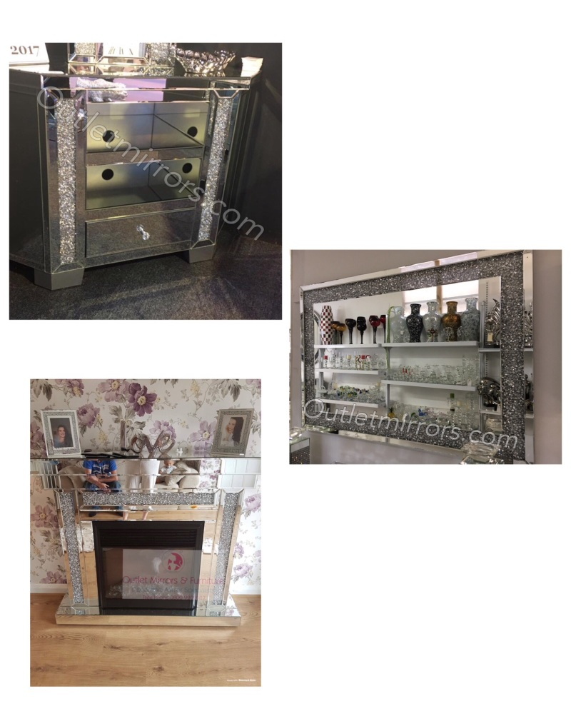 * Package Deal Diamond Crush Crystal Fire Surround with Fire, Corner tv uni