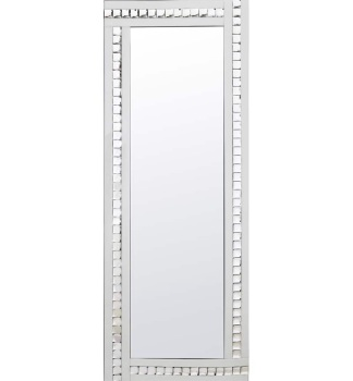 Frameless Bevelled Crystal Border White & Silver Mirror 180cm x 70cm
