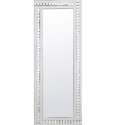 Frameless Bevelled Crystal Border White & Silver Mirror 180cm x 70cm