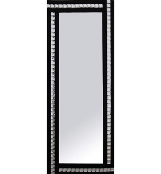 Frameless Bevelled Crystal Border Black & Silver Mirror 180cm x 70cm