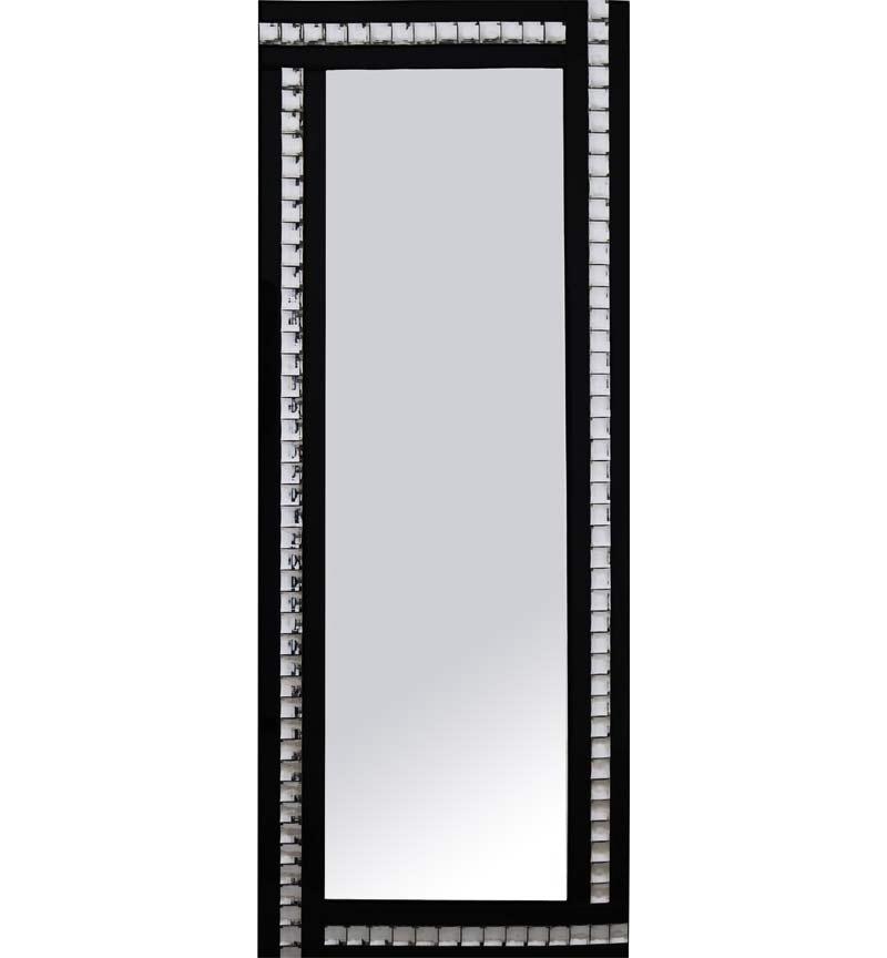 Frameless Bevelled Crystal Border Black & Silver Mirror 180cm x 70cm