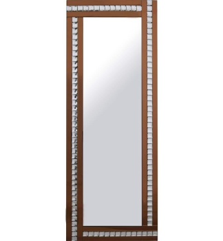 Frameless Bevelled Crystal Border Bronze Mirror 180cm x 70cm
