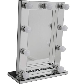 Diamond Crush Silver Free standing Hollywood Mirror 80cm x 60cm