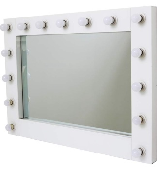 Wall Mounted 15 bulb White Hollywood Mirror
