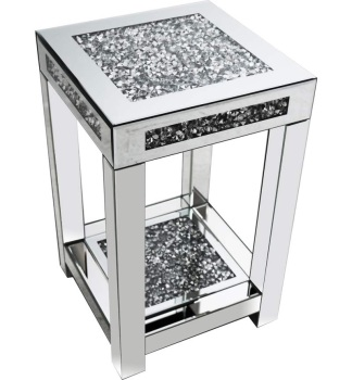 * Diamond Crush Sparkle Crystal Mirrored Lamp Table Border Trim medium