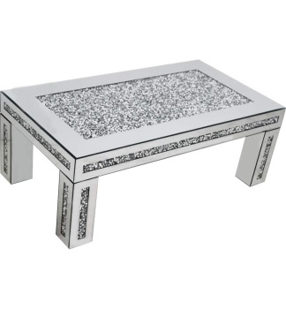 * New Diamond Crush Sparkle Crystal Mirrored Rectangular Coffee Table border trim - item in stock