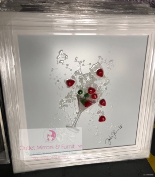 Jake Johnson 3D Strawberry Martini wall art on a White gloss background and white stepped frame