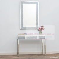 * Package Deal Diamond Crush Crystal Sparkle Console Table with draw and matching Mirror