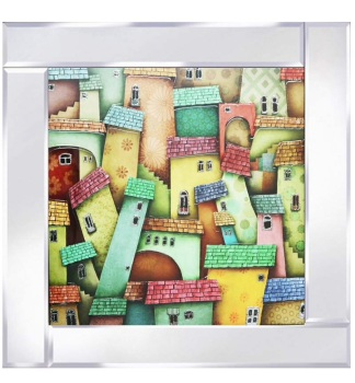 Mirror framed art print Abstract Houses