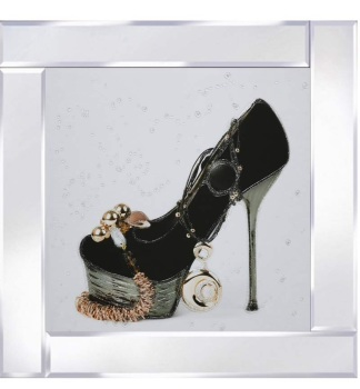 Mirror framed art print Bejewelled Shoe