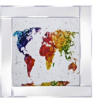 Mirror framed art print Colourful World Map