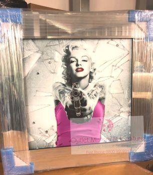 "Mirror framed ""Pink Monroe"" Wall Art in stock for a quick delivery"