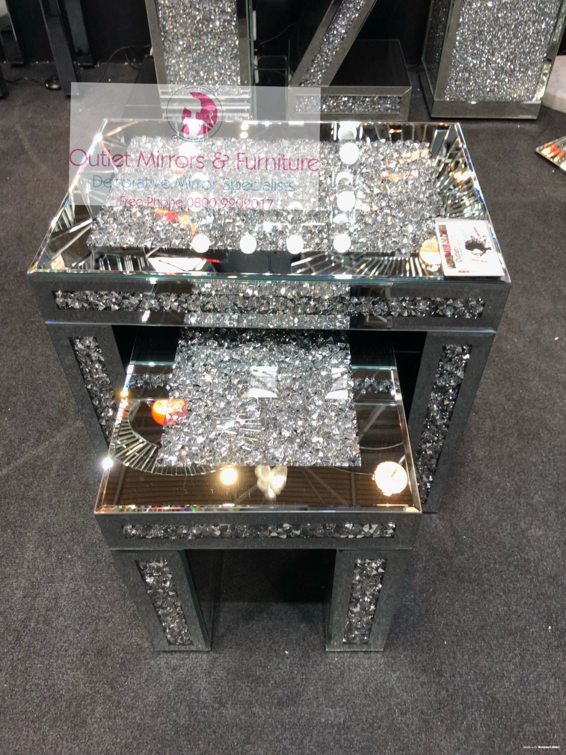 Diamond Crush Crystal Nest Of 2 Tables Item In Stock