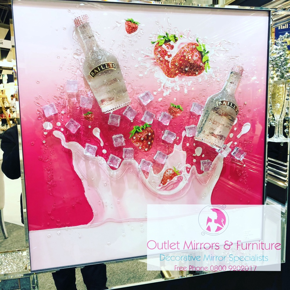 ** Baileys Strawberry Cream Glitter Art Mirrored Frame ** 87cm x 87cm large