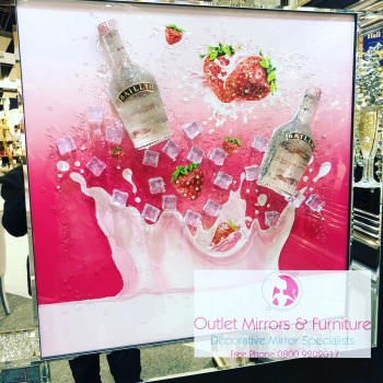 ** 3d Baileys Strawberry Cream Glitter Art Mirrored Frame ** 87cm x 87cm large - in stock