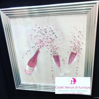 Pink Champagne bottle and flutes wall art on a white background and silver matt stepped frame in stock