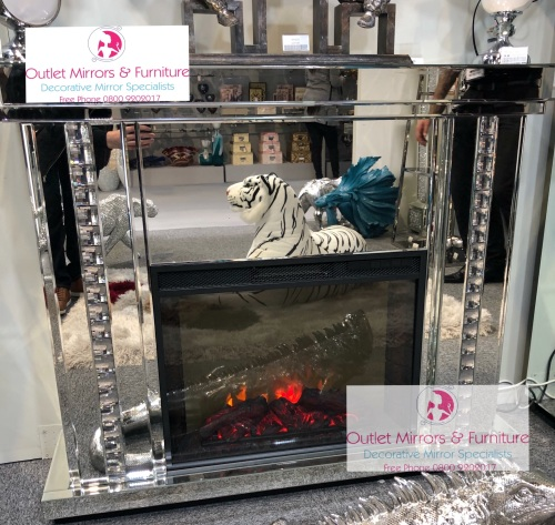 Special offer Crystal Border Mirrored Fire Surround with electric fire