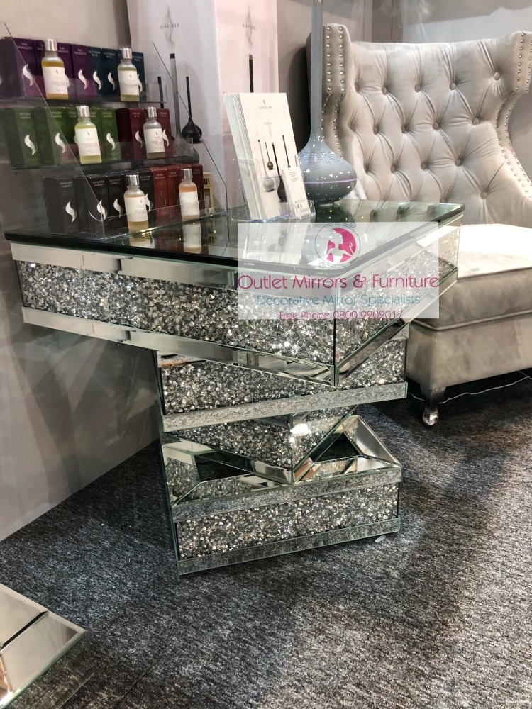 * New Diamond Crush Sparkle Crystal Mirrored Twist Square Coffee Table