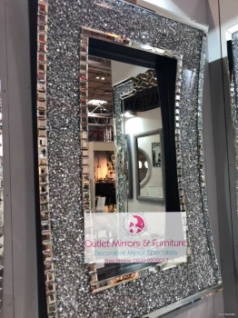 Diamond Crush Sparkle In curve Wall Mirror 120cm x 80cm  item in stock