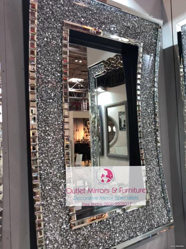 * New Diamond Crush Sparkle In curve Wall Mirror 120cm x 80cm  item in stoc