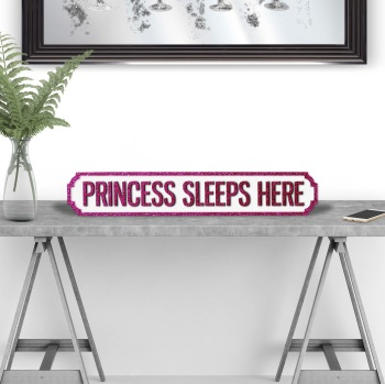 Princess Sleeps Here Pink & White Street Sign