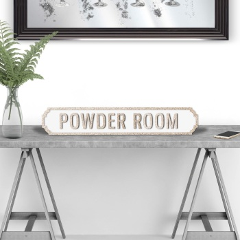 Powder Room Gold & White Street Sign