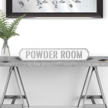 Powder Room Silver & White Street Sign